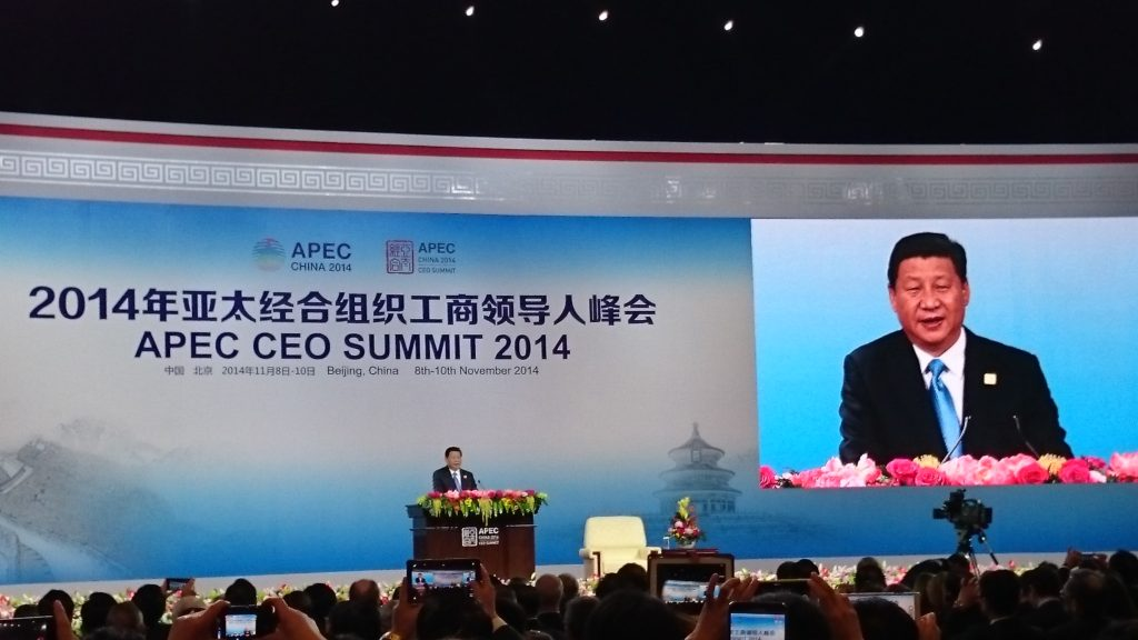 Xi Jinping addressing sustainable growth at APEC CEO Summit